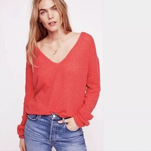 Free People Coral Gossamer V-Neck Sweater | Small